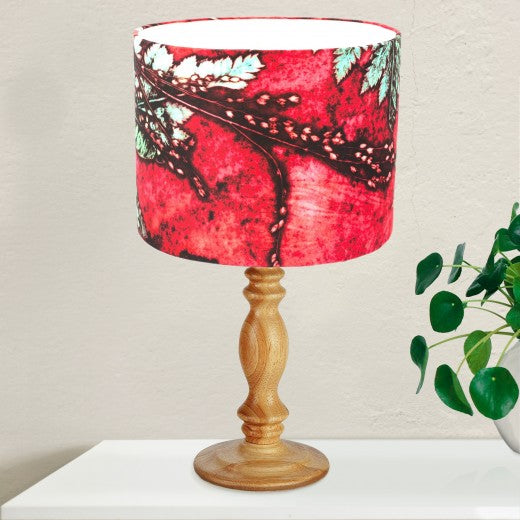 From Loft to loved - Gillian Arnold - drum shade for ceiling or table lamp - Sedgefield, County Durham - strawberry fern - green and red