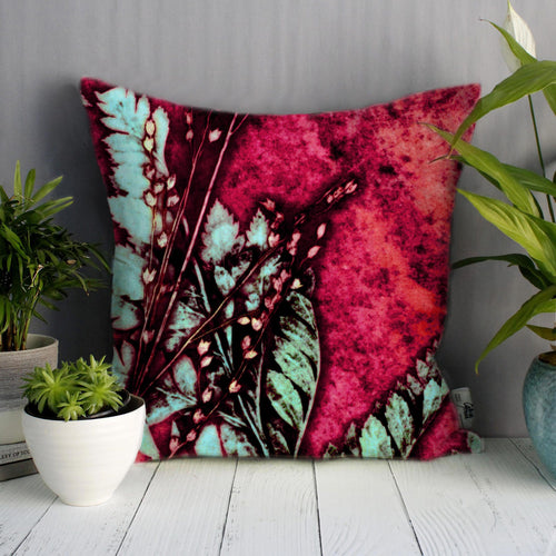 From Loft to loved - Gillian Arnold - 45cm velvet cushion - duck feather inner - Sedgefield, County Durham - Strawberry fern - red and green fern