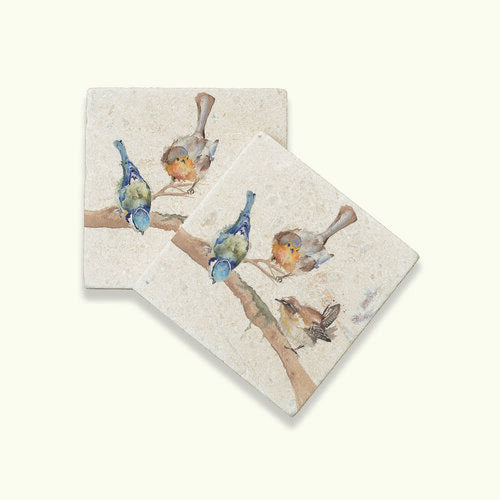 Set of 2 Marble Garden Party Coasters
