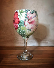 Bright Floral Hibiscus Print Stemmed Balloon Style Gin Glass or Cocktail Glass
