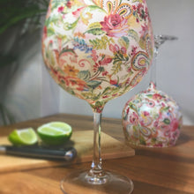 Floral Paisley Print Stemmed Balloon Style Gin Glass or Cocktail Glass