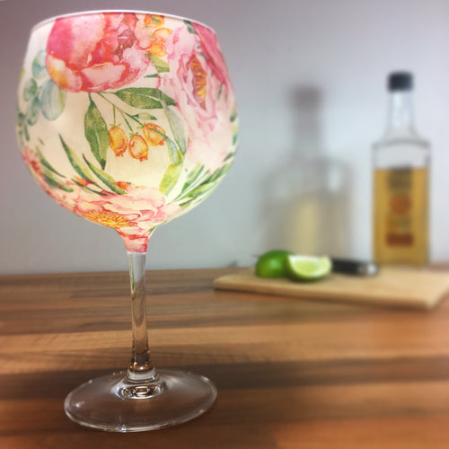 From Loft to Loved - gift for her - gift for women - pink peony floral stemmed balloon gin glass or cocktail glass - unique gin lover's gift - handmade gift - decorative gin glass - patterned gin glass - shop in Sedgefield County Durham