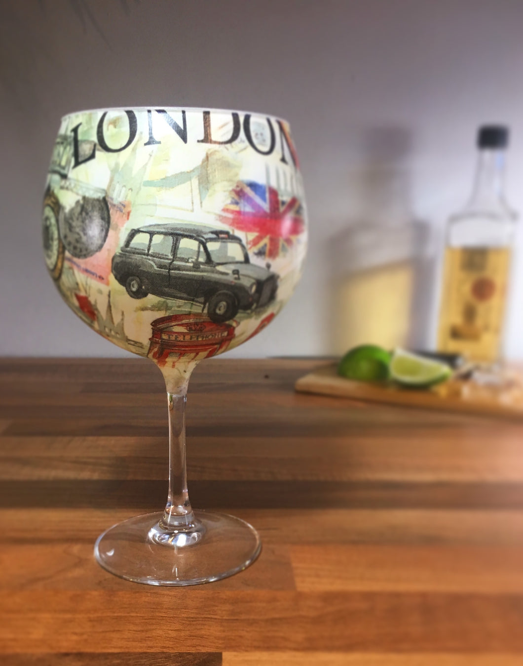 From Loft to Loved - gift for her - gift for women- gift for him - men's gift - London themed stemmed balloon gin glass or cocktail glass - unique gin lover's gift - handmade gift - decorative gin glass - patterned gin glass - shop in Sedgefield County Durham