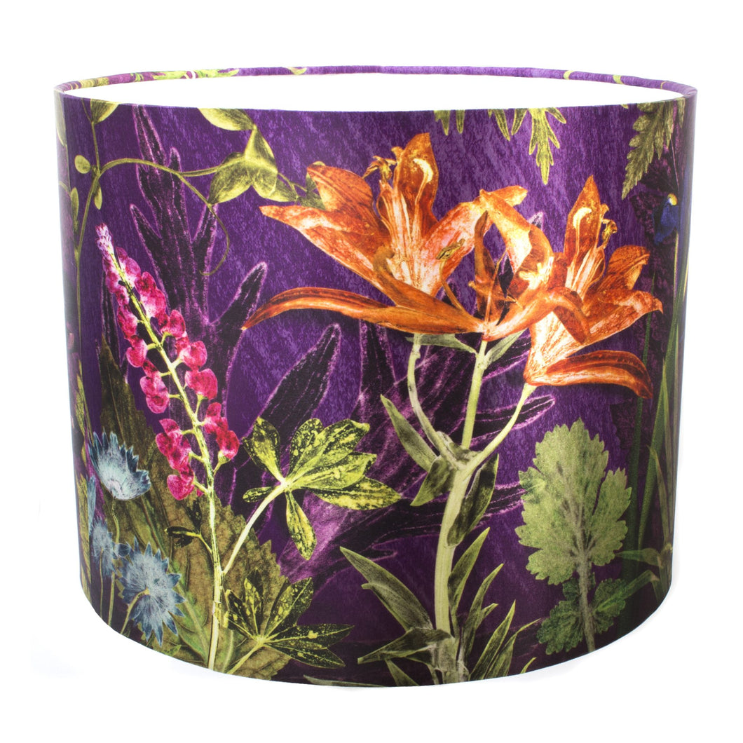 From Loft to loved - Gillian Arnold - drum shade for ceiling or table lamp - Sedgefield, County Durham - purple whisper - purple and orange botanical print
