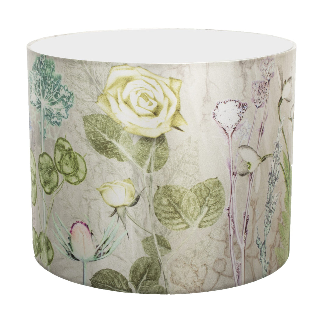From Loft to loved - Gillian Arnold - drum shade for ceiling or table lamp - Sedgefield, County Durham - mother's silver bouquet - silver and green floral