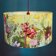 From Loft to loved - Gillian Arnold - drum shade for ceiling or table lamp - Sedgefield, County Durham - tropical sunshine - yellow and pink botanical print