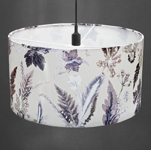 From Loft to loved - Gillian Arnold - drum shade for ceiling or table lamp - Sedgefield, County Durham - winter flourish - monocrome - black and white botanical
