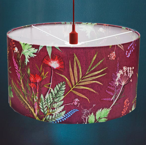 From Loft to loved - Gillian Arnold - drum shade for ceiling or table lamp - Sedgefield, County Durham - tropical wine - red wine and green botanical print