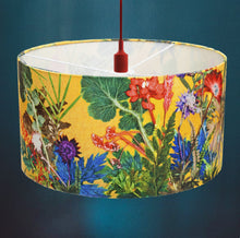 From Loft to loved - Gillian Arnold - drum shade for ceiling or table lamp - Sedgefield, County Durham - summer tropics - yellow and green botanical print