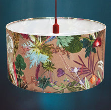 From Loft to loved - Gillian Arnold - drum shade for ceiling or table lamp - Sedgefield, County Durham - tropical dusk - dusky pink and green botanical print