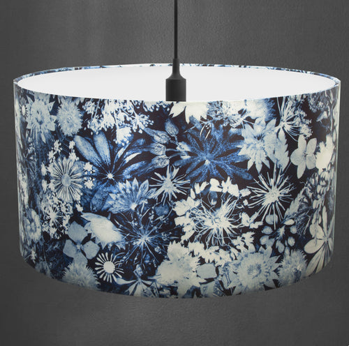 From Loft to loved - Gillian Arnold - drum shade for ceiling or table lamp - Sedgefield, County Durham - Cascades of Blue - blue and white floral
