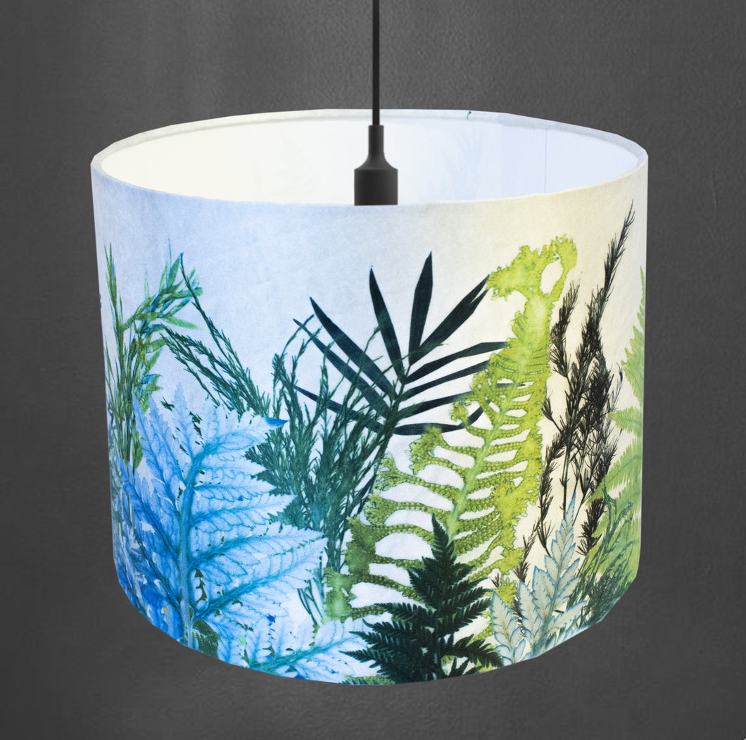 From Loft to loved - Gillian Arnold - drum shade for ceiling or table lamp - Sedgefield, County Durham - Forage - white and green ferns