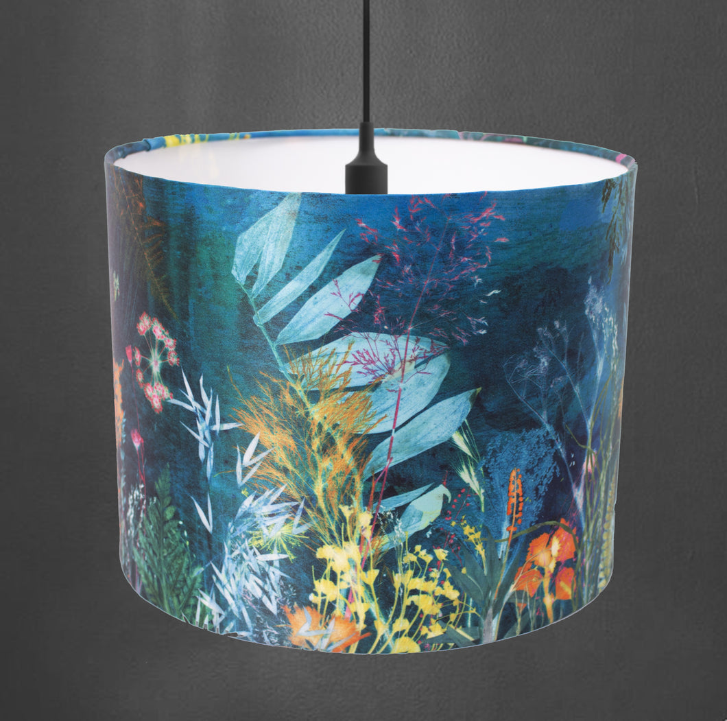 From Loft to loved - Gillian Arnold - drum shade for ceiling or table lamp - Sedgefield, County Durham - Aqua magna - botanical print - sea green