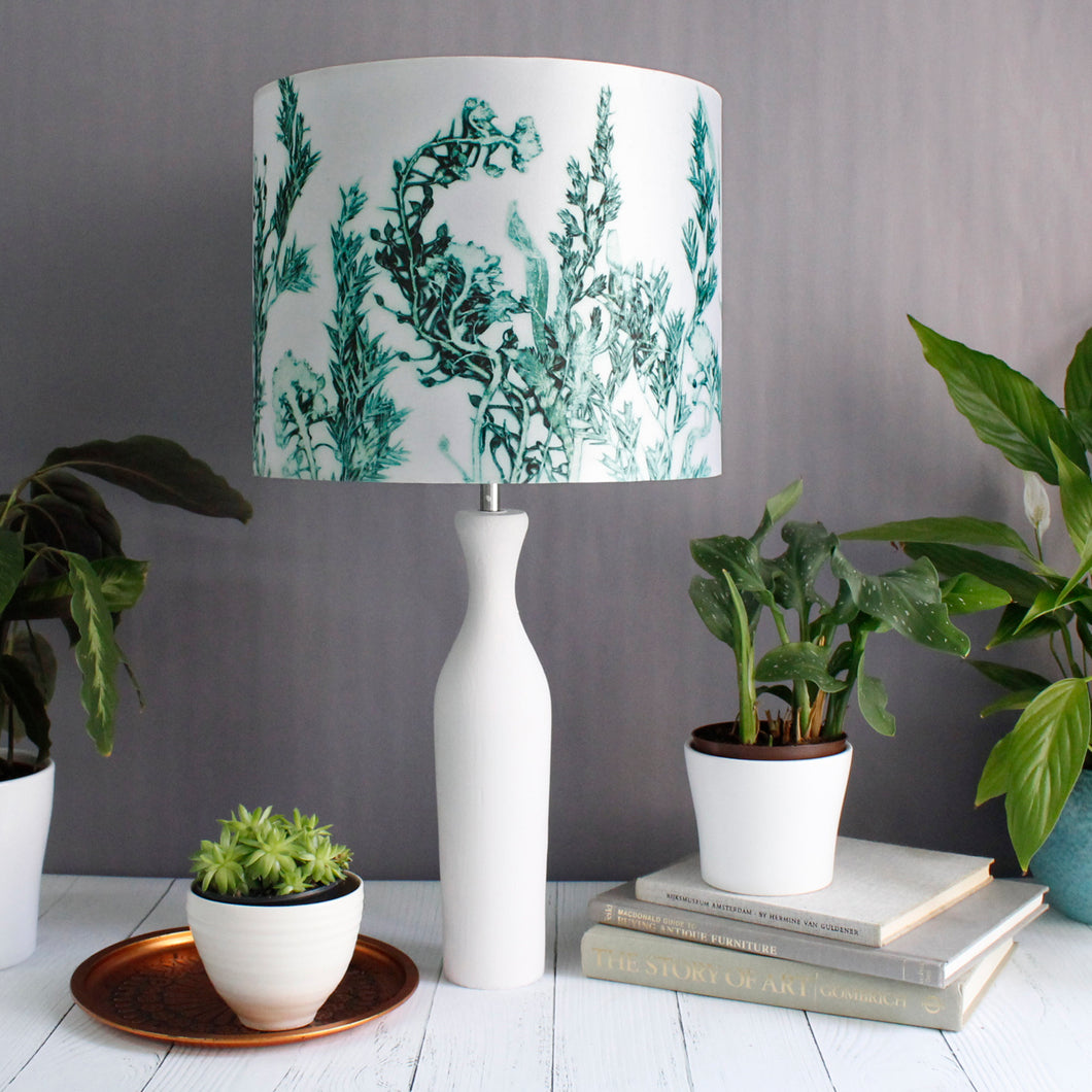 From Loft to loved - Gillian Arnold - drum shade for ceiling or table lamp - Sedgefield, County Durham - Green Landscape - white and green leaves