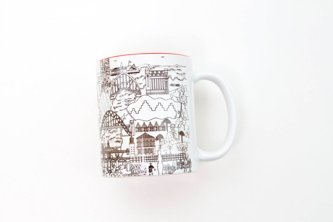 Newcastle Skyline in Black and White Mug