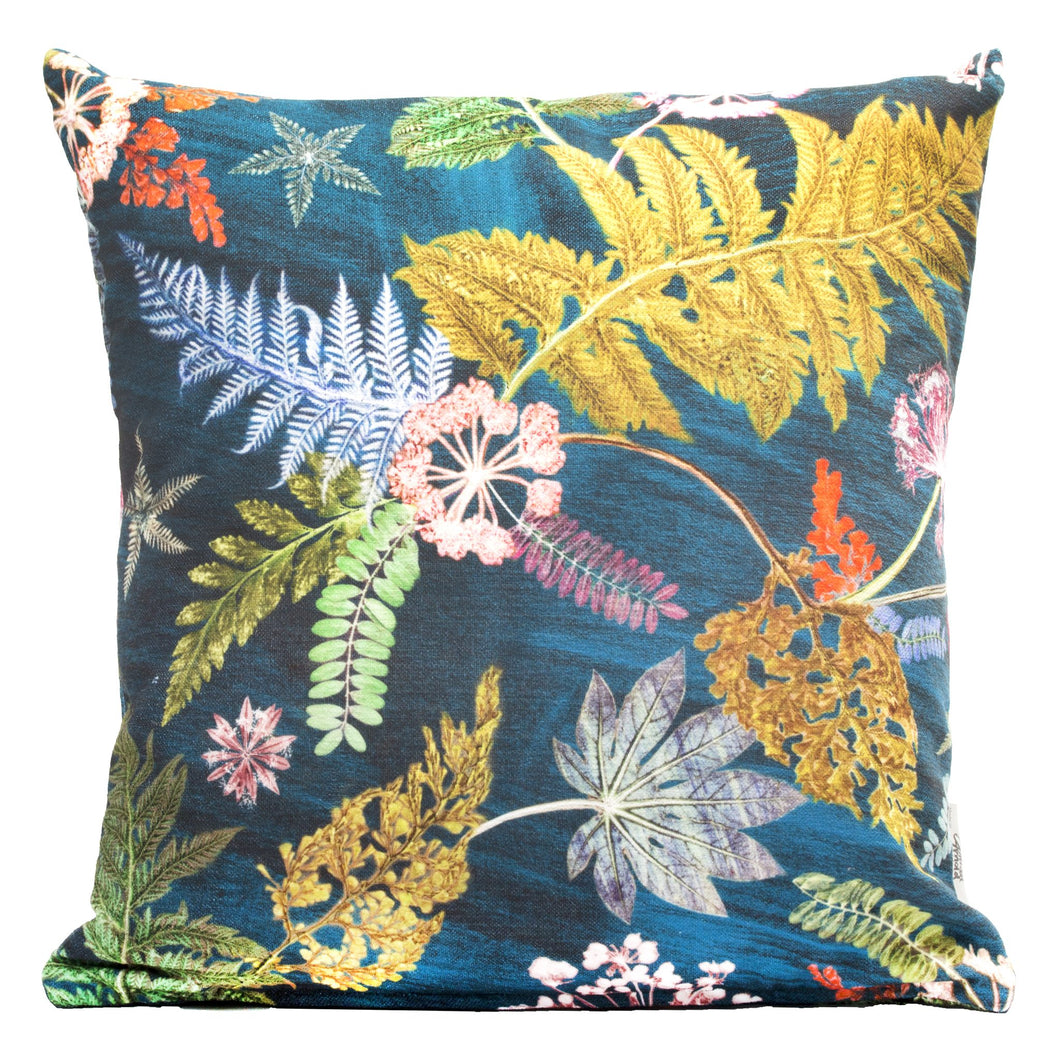 From Loft to loved - Gillian Arnold - 45cm velvet cushion - duck feather inner - Sedgefield, County Durham - Now that's something teal - green and teal botanical print