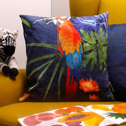 From Loft to loved - Gillian Arnold - 45cm velvet cushion - duck feather inner - Sedgefield, County Durham - Exotic parrot - blue and red tropical print