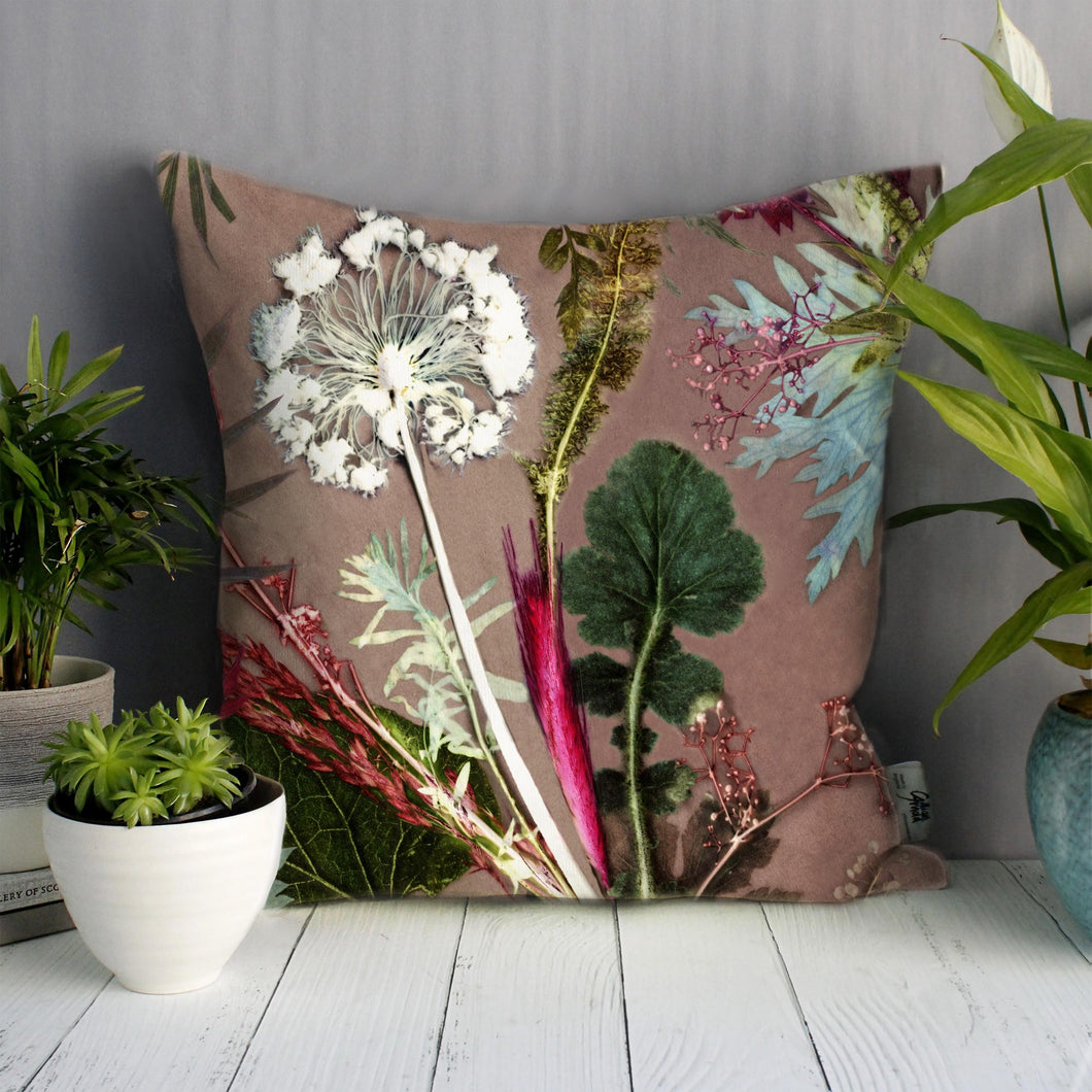 From Loft to loved - Gillian Arnold - 45cm velvet cushion - duck feather inner - Sedgefield, County Durham - Tropical dusk - pink and green floral print