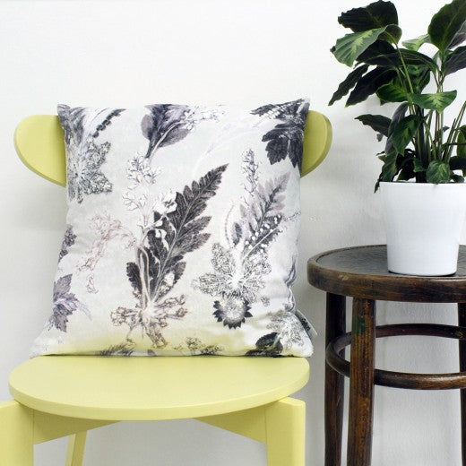 From Loft to loved - Gillian Arnold - 45cm velvet cushion - duck feather inner - Sedgefield, County Durham - Winter Flourish - monochrome - black and white botanical print