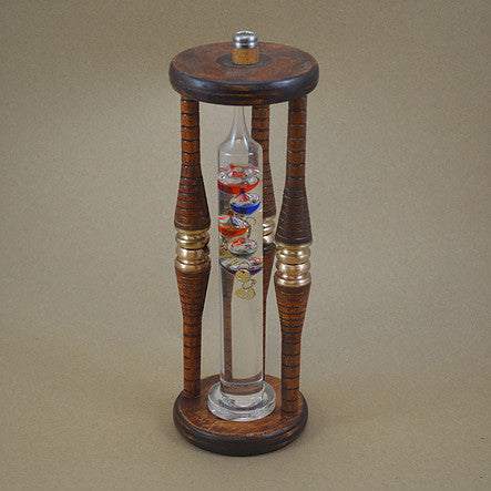 Unique Stand Thermometer (Galileo) mounted within an Antique Bobbin Frame