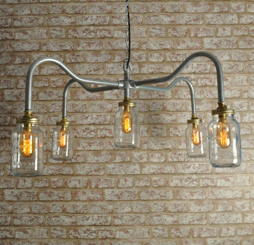 Industrial steampunk vintage style steel 5 way lighting - ceiling light - indoor use - home - business - living room - dining room - chandelier