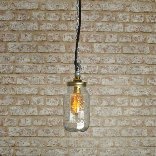Industrial steampunk vintage style single Kilner jar ceiling light - home - pendant