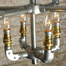 Industrial steampunk vintage style steel 8 bulb chandelier - ceiling light - silver - living room - dining room - kitchen - home