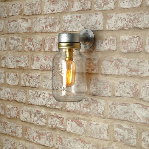 Industrial steampunk vintage style single Kilner jar wall light - home - outdoor use