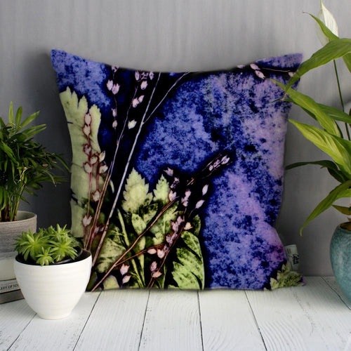 From Loft to loved - Gillian Arnold - 45cm velvet cushion - duck feather inner - Sedgefield, County Durham - Plum fern - green and purple botanical print