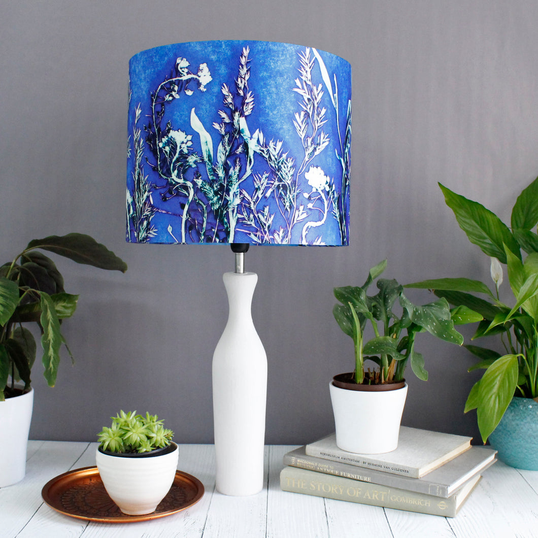 From Loft to loved - Gillian Arnold - drum shade for ceiling or table lamp - Sedgefield, County Durham - Blue Landscape - blue and green ferns