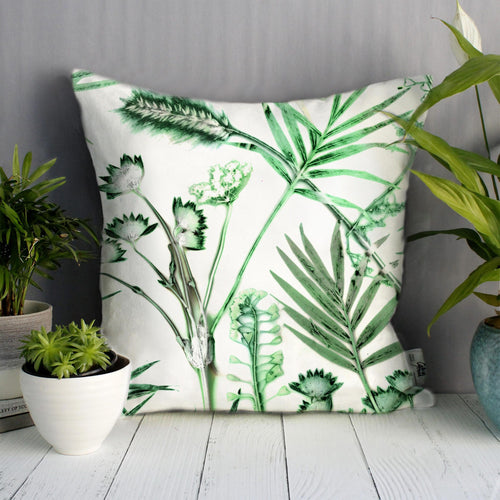 From Loft to loved - Gillian Arnold - 45cm velvet cushion - duck feather inner - Sedgefield, County Durham - Hothouse fronds - green and white botanical print
