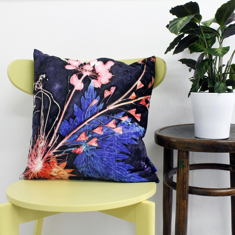 From Loft to loved - Gillian Arnold - 45cm velvet cushion - duck feather inner - Sedgefield, County Durham - Blue wreath - blue and pink floral