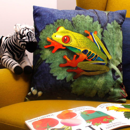 From Loft to loved - Gillian Arnold - 45cm velvet cushion - duck feather inner - Sedgefield, County Durham - Exotic frog - blue and green tropical print