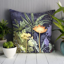 From Loft to loved - Gillian Arnold - 45cm velvet cushion - duck feather inner - Sedgefield, County Durham - Midnight jungle - green, blue and yellow tropical print