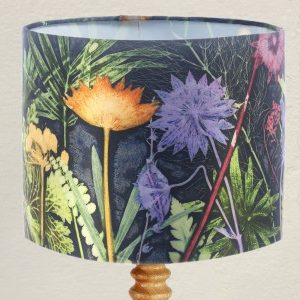From Loft to loved - Gillian Arnold - drum shade for ceiling or table lamp - Sedgefield, County Durham - Midnight jungle - blue and green jungle