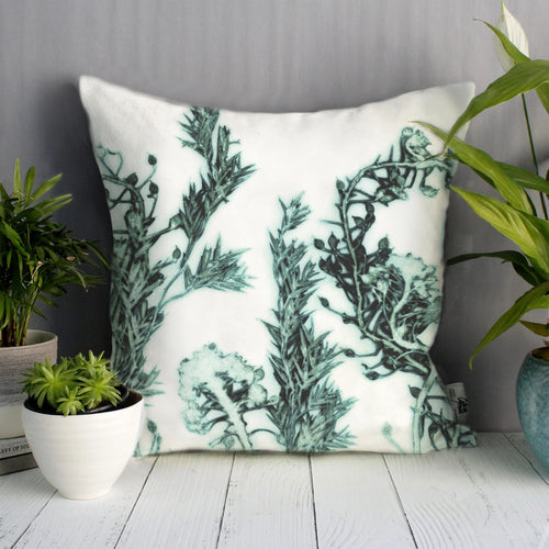 From Loft to loved - Gillian Arnold - 45cm velvet cushion - duck feather inner - Sedgefield, County Durham - Green landscape - green and white botanical print