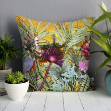 From Loft to loved - Gillian Arnold - 45cm velvet cushion - duck feather inner - Sedgefield, County Durham - Tropical sunshine - yellow and pink tropical print