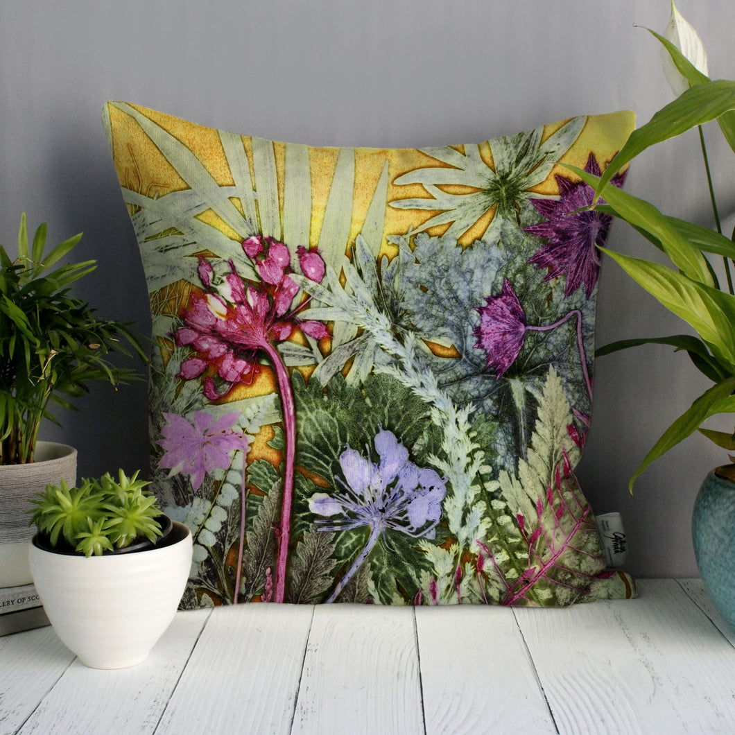From Loft to loved - Gillian Arnold - 45cm velvet cushion - duck feather inner - Sedgefield, County Durham - Tropical paradise - yellow and pink tropical print