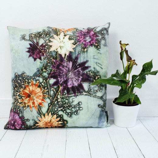 From Loft to loved - Gillian Arnold - 45cm velvet cushion - duck feather inner - Sedgefield, County Durham - Branching astrantia - purple and orange floral burst