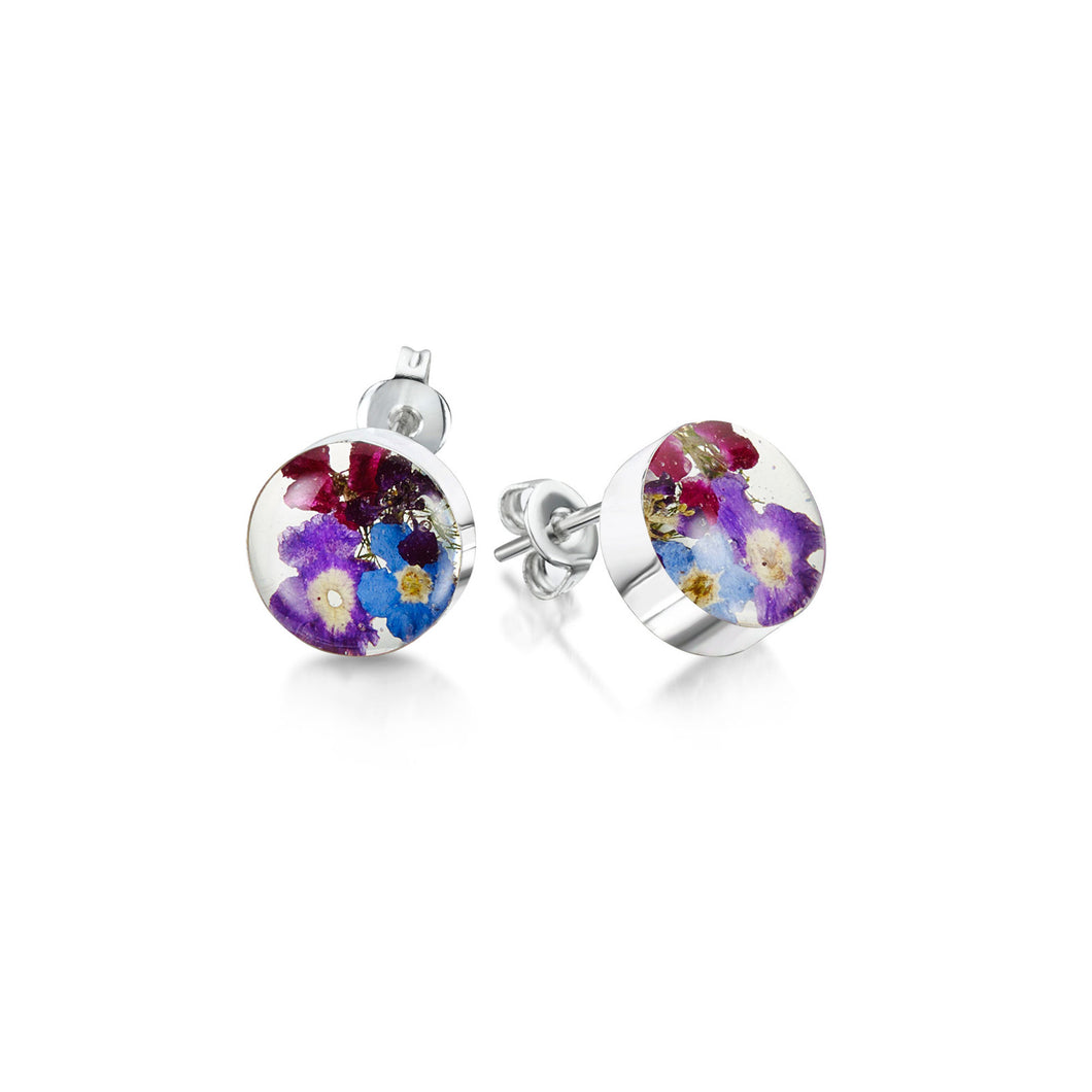 jewellery violet and forget-me-not sterling silver round stud earrings made from real flowers