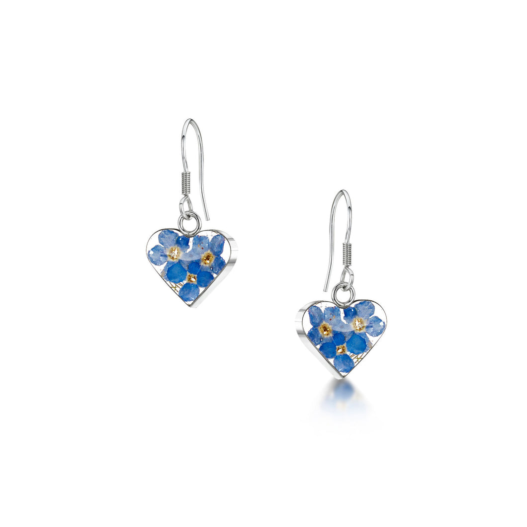 jewellery forget-me-not sterling silver heart drop earrings made from real flowers