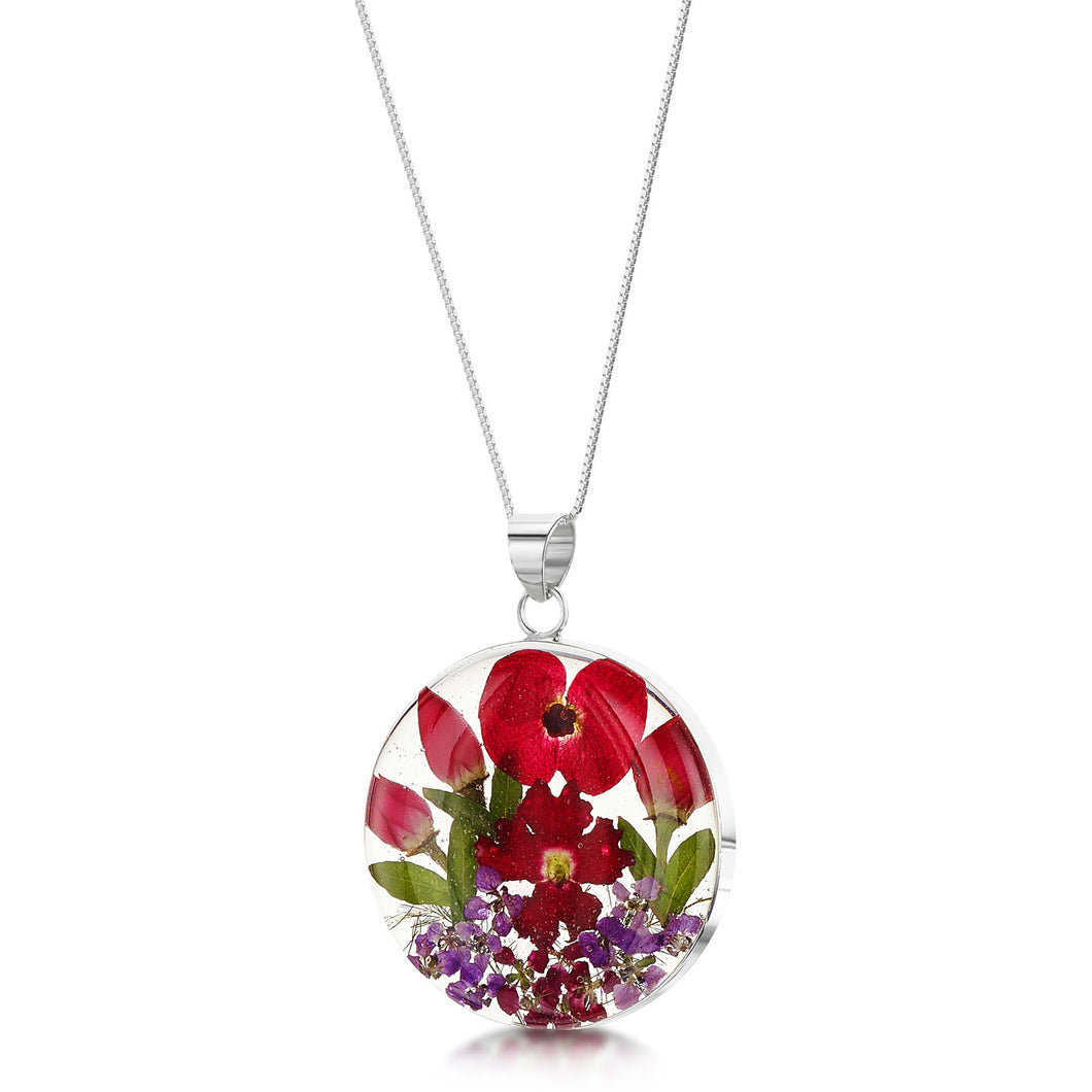 jewellery poppy and rose large round pendant necklace made from real flowers