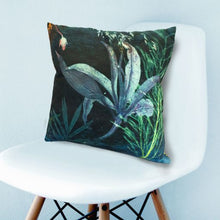 From Loft to loved - Gillian Arnold - 45cm velvet cushion - duck feather inner - Sedgefield, County Durham - Aqua magna - green and blue botanical print
