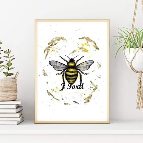 Bee Watercolour Print