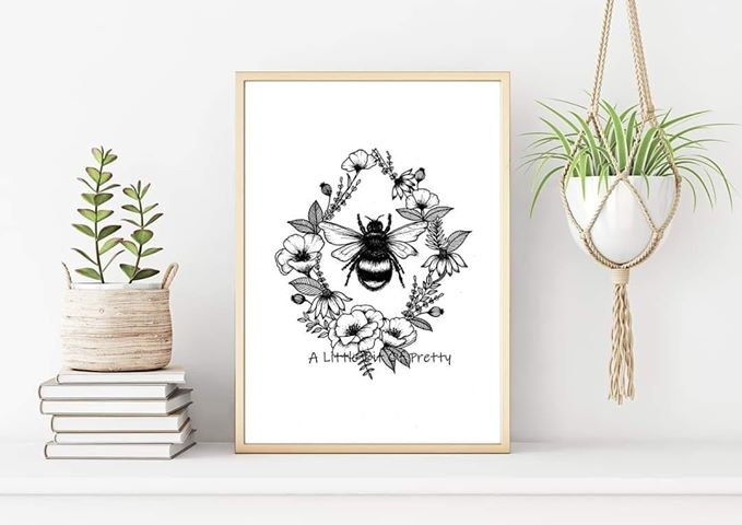Bee Diamond Black and White Print