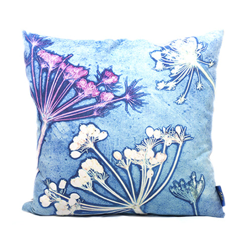 From Loft to loved - Gillian Arnold - 45cm velvet cushion - duck feather inner - Sedgefield, County Durham - Blue cow parsley - blue and white floral