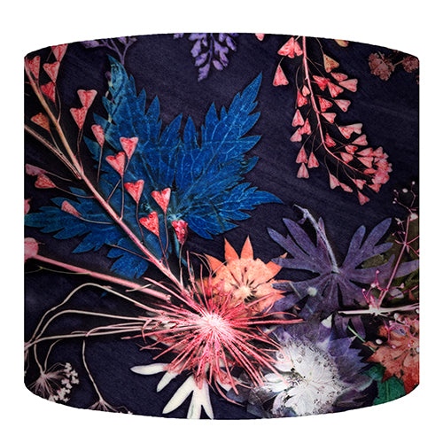 From Loft to loved - Gillian Arnold - drum shade for ceiling or table lamp - Sedgefield, County Durham - Blue Wreath - blue and pink