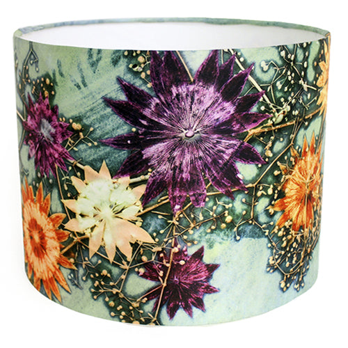 From Loft to loved - Gillian Arnold - drum shade for ceiling or table lamp - Sedgefield, County Durham - Branching Astrantia - green and blue floral