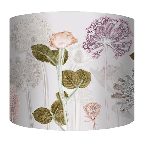 From Loft to loved - Gillian Arnold - drum shade for ceiling or table lamp - Sedgefield, County Durham - Bridal Bouquet - white, green and pink floral