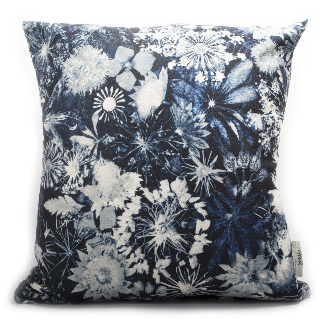 From Loft to loved - Gillian Arnold - 45cm velvet cushion - duck feather inner - Sedgefield, County Durham - Cascades of blue - blue and white floral print